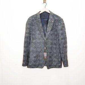 Michael Kors Wool Blend Herringbone Plaid Blazer